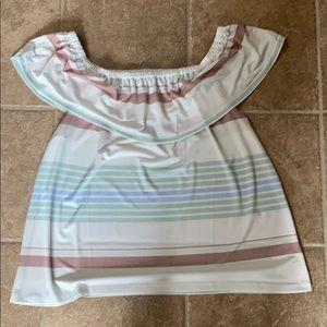 Off shoulder white striped top